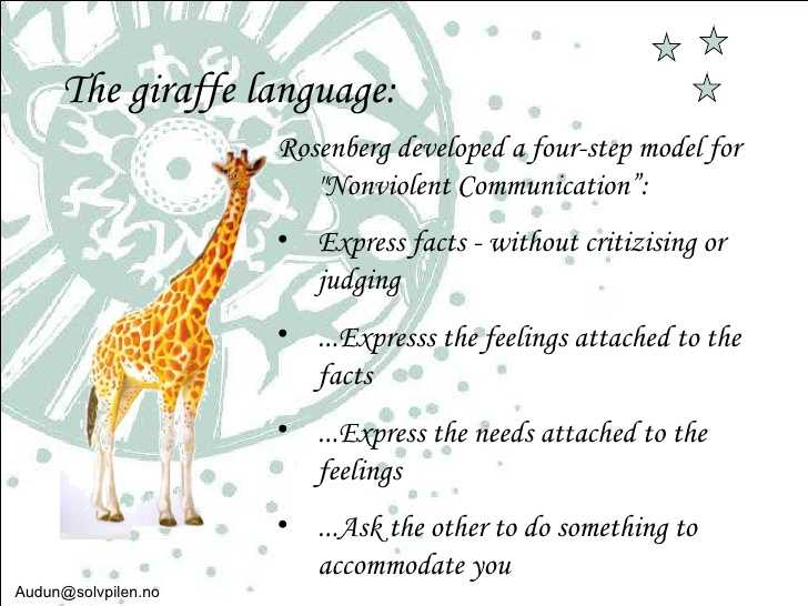 Giraffe language to solve problems in the workplace