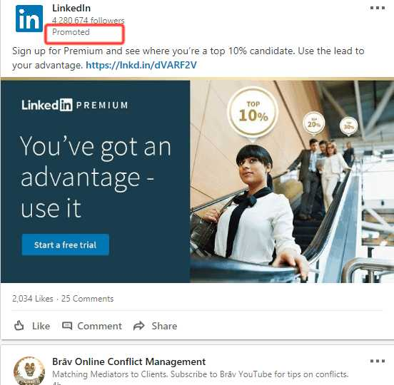 sponsored LinkedIn content